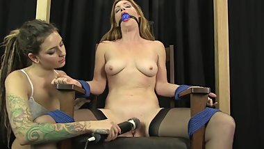 Lesbian Sub Is Tied And Teased With A Vibrator By Her Domme
