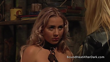 Thick Chain Around Slave's Neck With Mistress Whipping Her