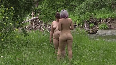 hidden camera, girlfriends lesbians in the forest