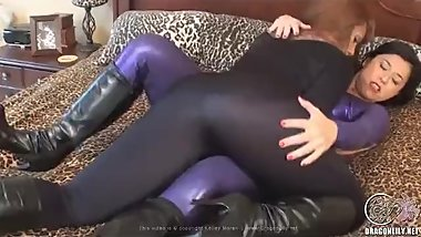 Lesbians dry humping legs in silky smooth spandex catsuits