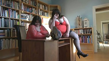 The BBW Ladies playing with themselves in the office