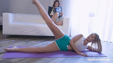 Lesbians Scissoring instead of Doing Yoga