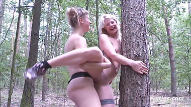 Hot German Babes Fucking with Strap Ons Outdoors