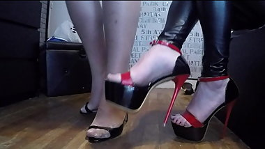 High heels walking for two ladies