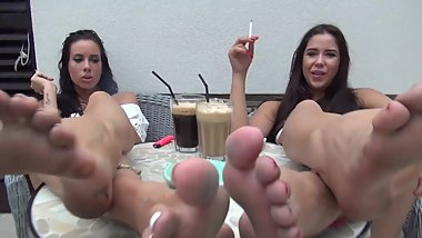 Lesbians smoking & showing dirty feet