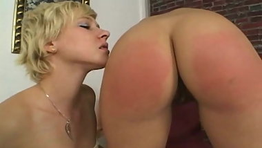 Lesbian BDSM. Spanking and cumming for punishment