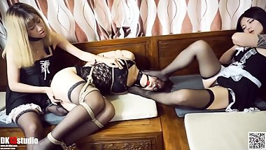 chinese girl in nylon tied up, hogtied and played with