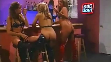 Babes in black and red thigh high boots in classic lesbian fetish orgy