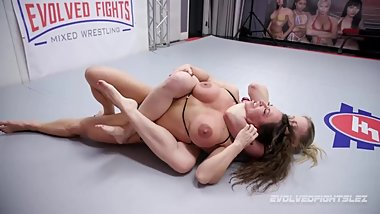 Riley Reyes vs Brandi Mae in nude lesbian wrestling with strapon for loser