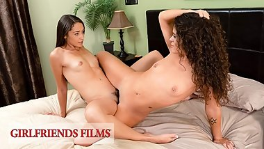 GirlfriendsFilms - Teen Lesbians Sneakily Fuck While Dad Sleeps