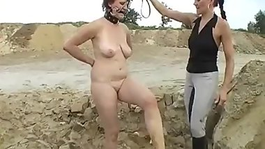 Mistress rode on the poor naked female human mount and slipped hard