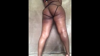 Thick ebony teasing and twerking home alone