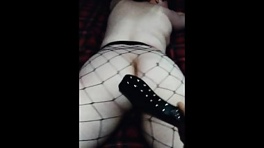 Chubby goth girl in fishnets gets spanked