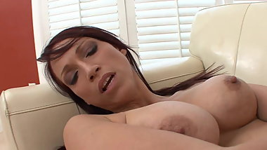Dark haired young lesbian chick goes down on busty milf and