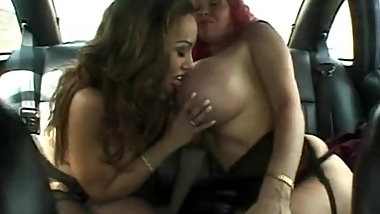 German Beauty Big Boobs lesbian In Car