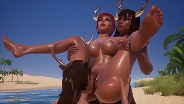 Sexy Reindeer Lesbian Orgy at Spring Break, pussy licking at the nude beach
