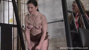 Lesbian slave Caroline Pierce tied on ice and whipped by lezdom mistress Xi